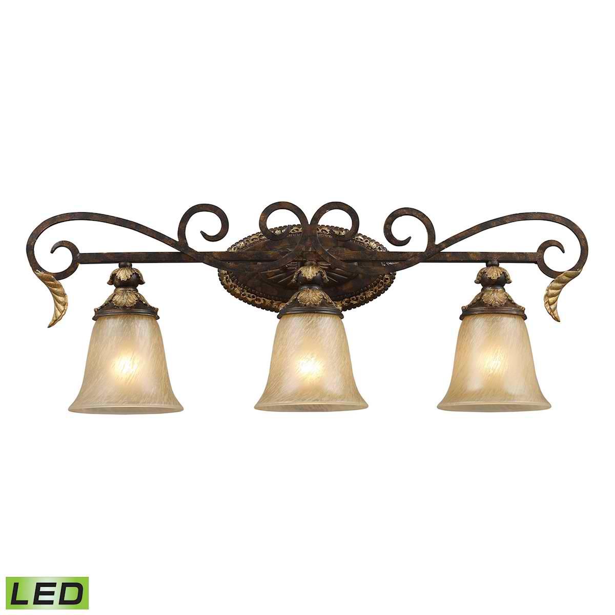 3 Light Vanity Bar in Burnt Bronze - LED, 800 Lumens (2400 Lumens Total) with Full Scale Dimming Range