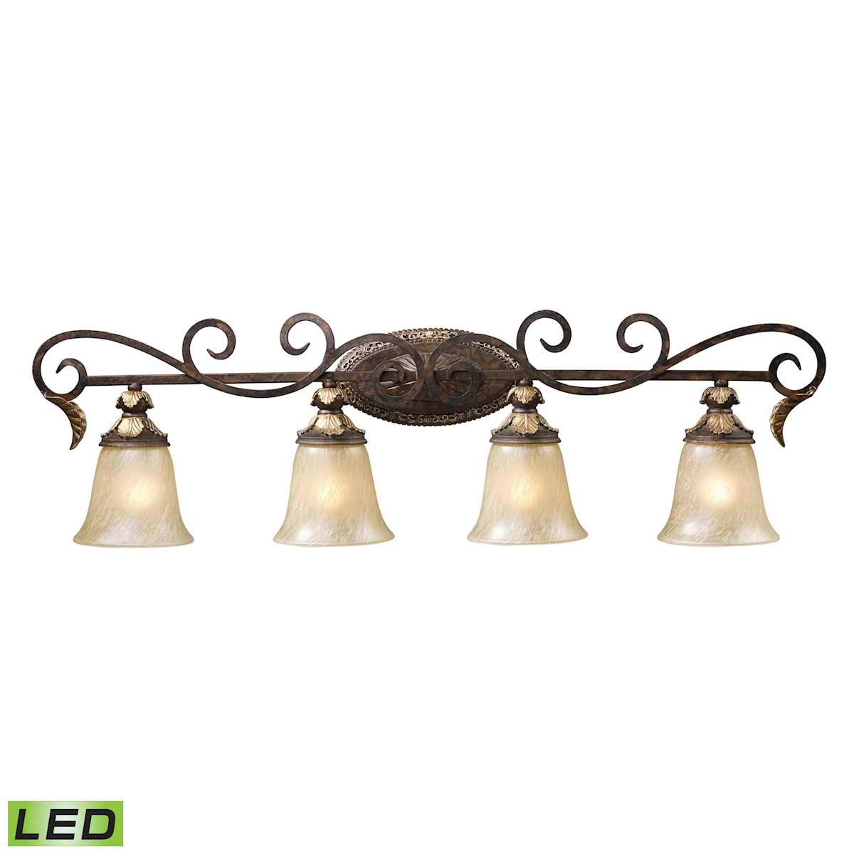 4 Light Vanity Lt in Burnt Bronze - LED, 800 Lumens (3200 Lumens Total) with Full Scale Dimming Range