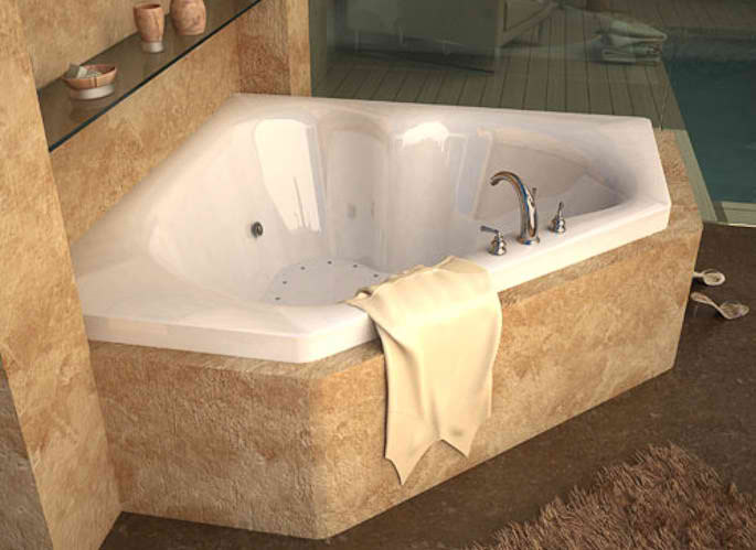 Whirlpools 60 x 60 Corner Soaking Acrylic Bathtub