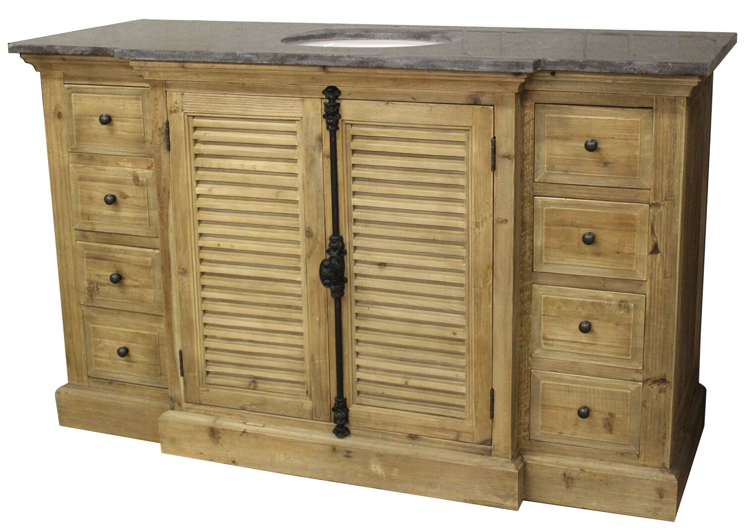 "59"" Handcrafted Reclaimed Pine Solid Wood Single Bath Vanity Natural Finish"