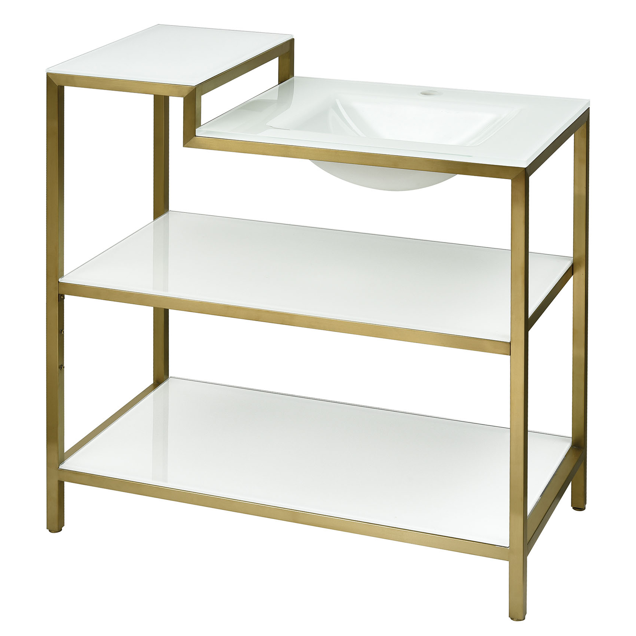 Satin Gold Vanity Console with Integral White Glass Sink and White Glass Shelves