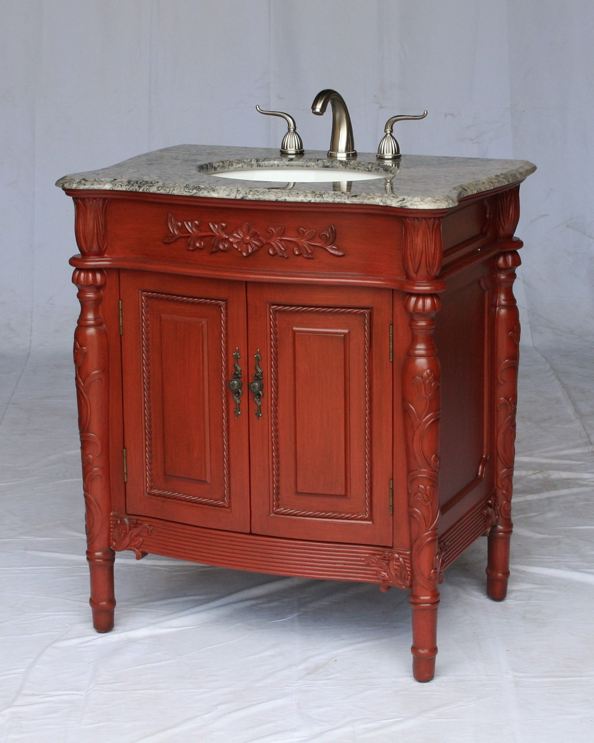 "32"" Adelina Antique Style Single Sink Bathroom Vanity with Gray Granite Countertop and Cherry Finish"