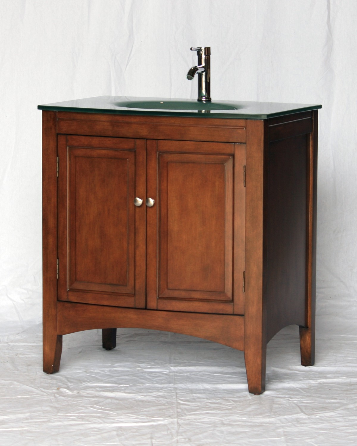 "32"" Adelina Contemporary Style Single Sink Bathroom Vanity in Walnut Finish with Tempered Glass Countertop"