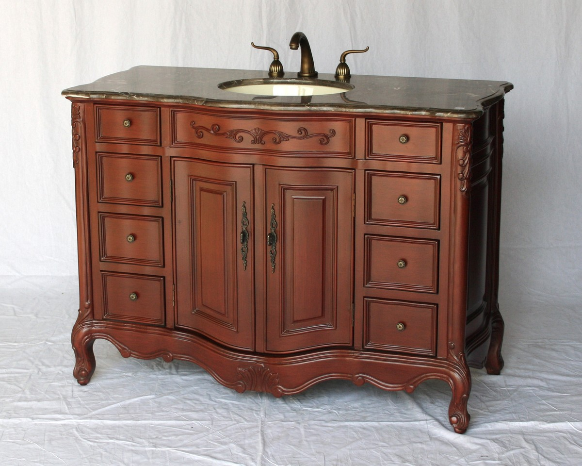 "48"" Adelina Antique Style Single Sink Bathroom Vanity in Cherry Finish with Light Brown Stone Countertop"
