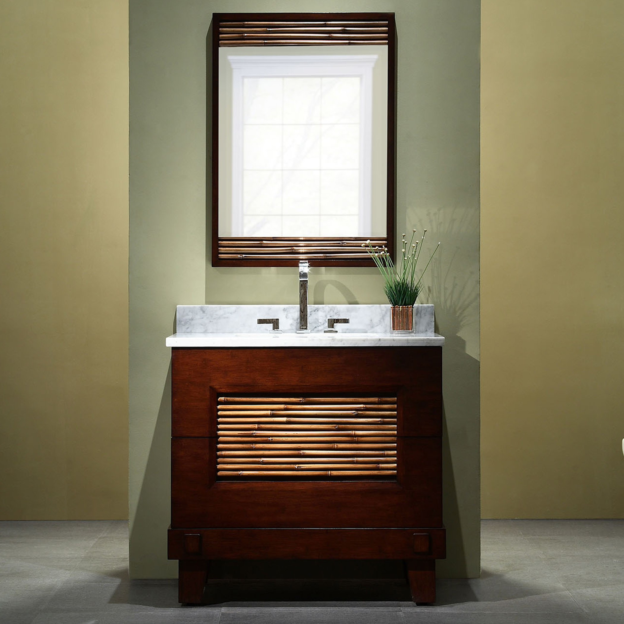 "30"" Modern Bathroom Vanity - Dark Bamboo Finish with Top and Mirror Options"