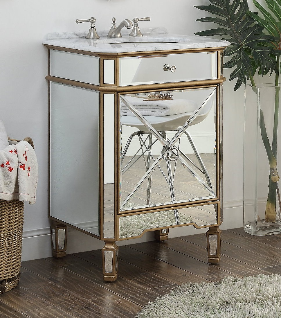 "Adelina 24"" Gold Asger Powder Room Bathroom Vanity"