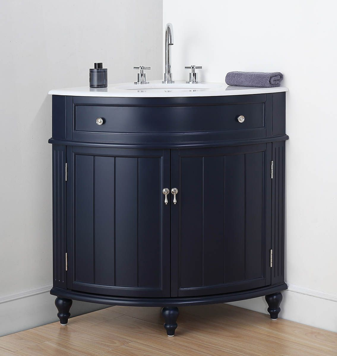 "24"" Single Sink Navy Blue Bathroom Vanity with White Marble Countertop"