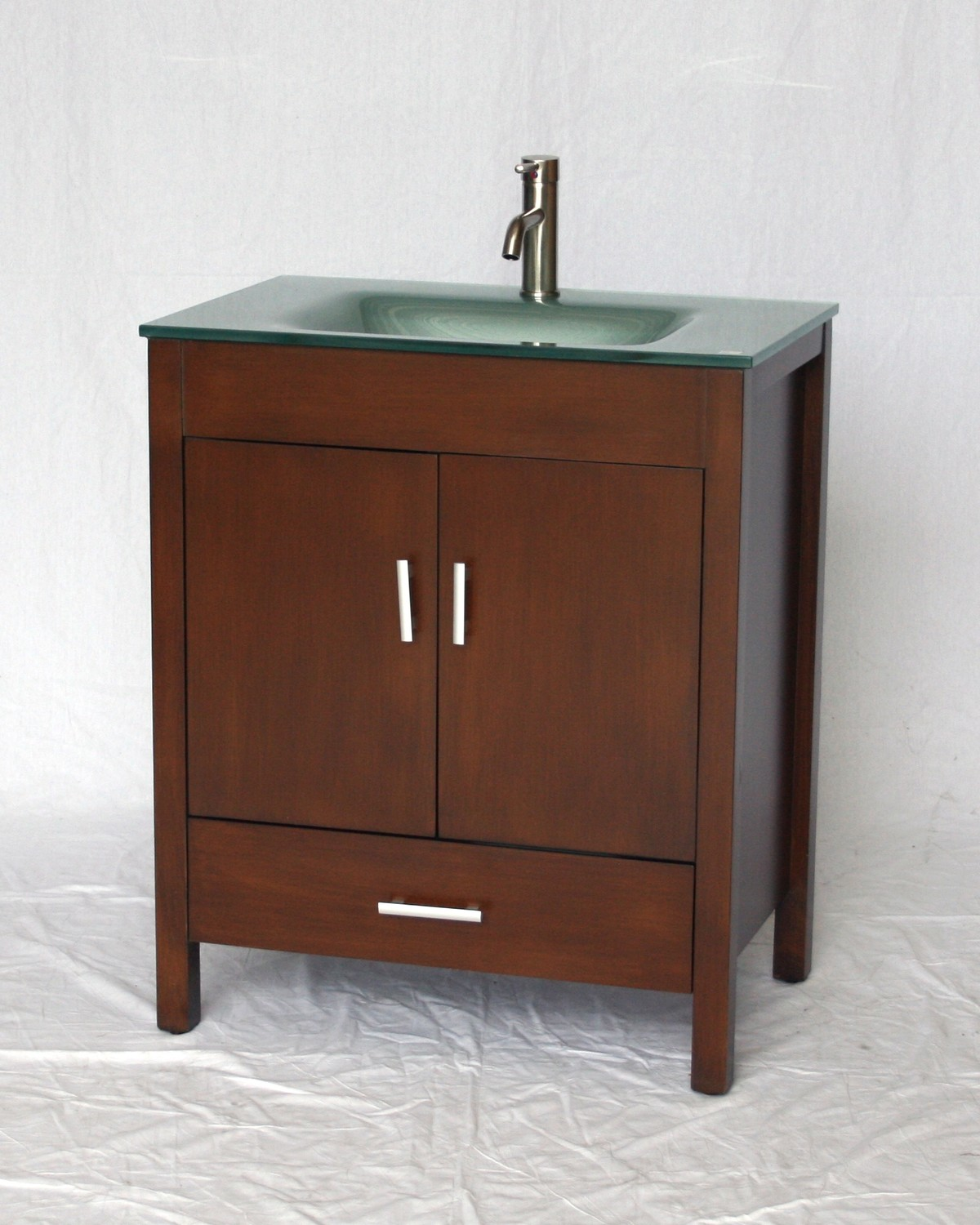 "30"" Adelina Contemporary Style Walnut Single Sink Bathroom Vanity with Tempered Glass Countertop"