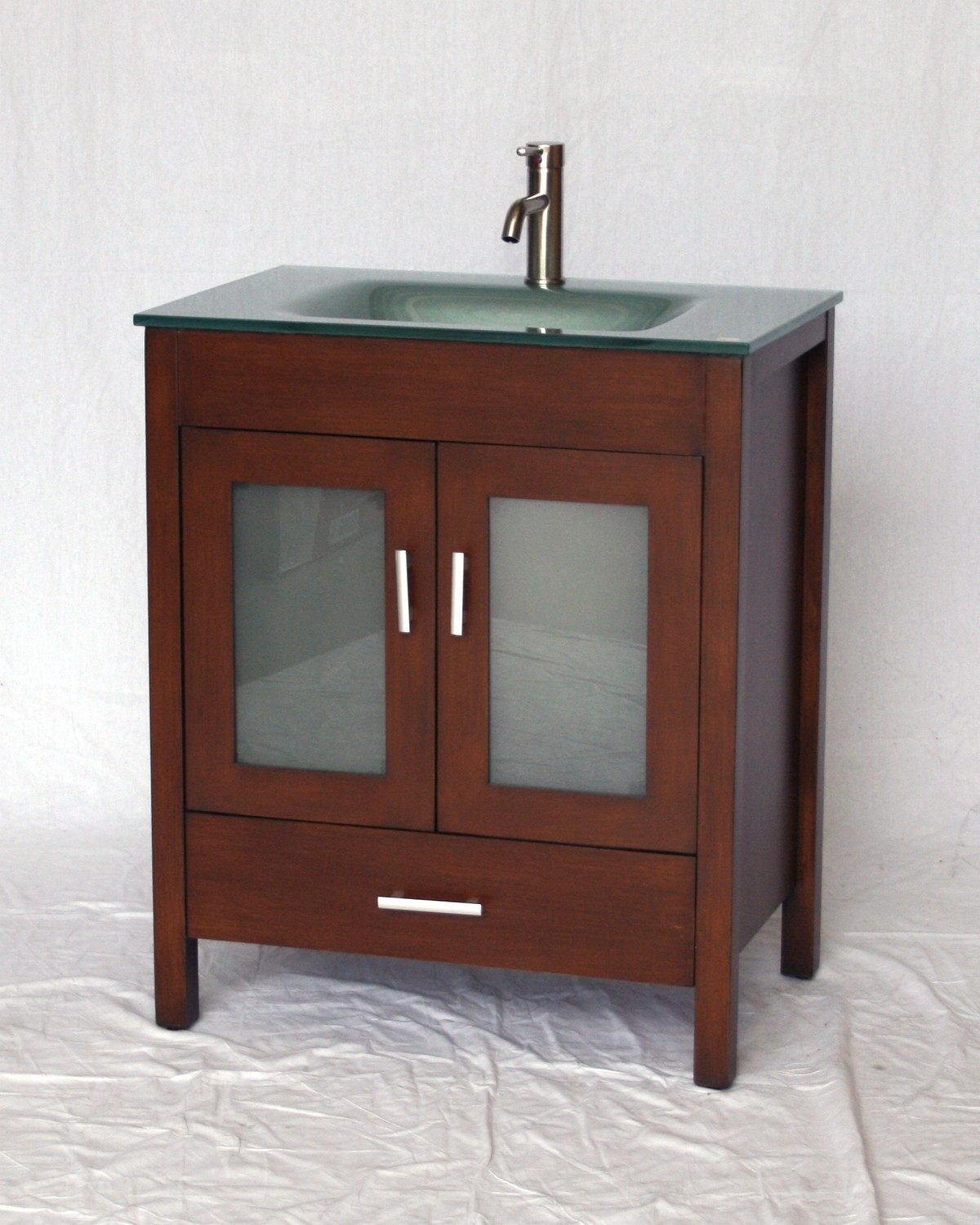 "30"" Adelina Contemporary Style Single Sink Bathroom Vanity in Walnut Finish with Tempered Glass Countertop"