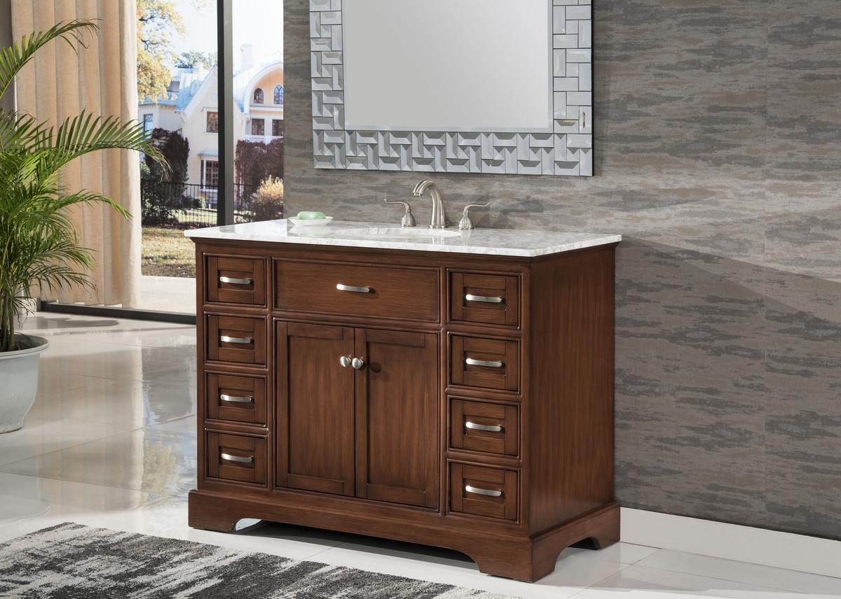 "46"" Adelina Contemporary Style Single Sink Bathroom Vanity in Walnut Finish with White Italian Carrara Marble Countertop"