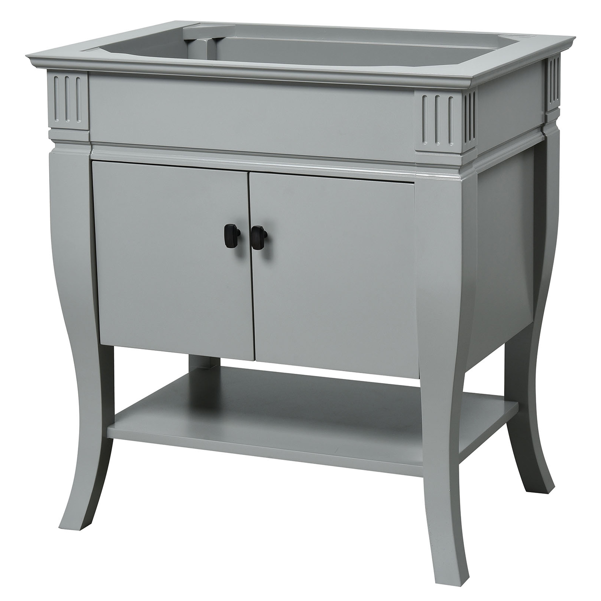 "30"" Transitional Bathroom Vanity - Grey Finish with Top and Mirror Options"