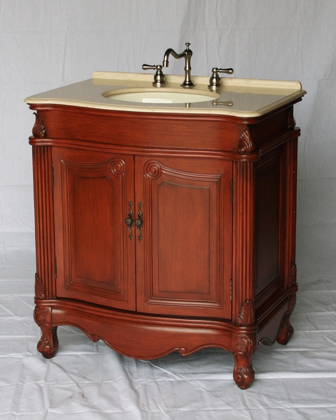 "32"" Adelina Antique Single Sink Bathroom Vanity in Cherry Finish with Beige Stone Countertop"