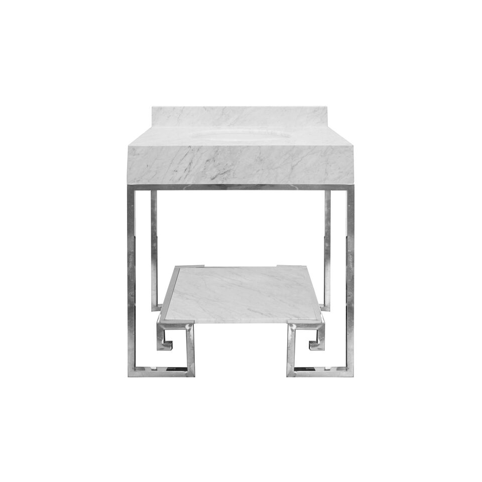 "30.5"" Isaac Edwards Collection Greek Key Nickel Base with White Carrara Marble Top and Shelf, Backsplash Option"