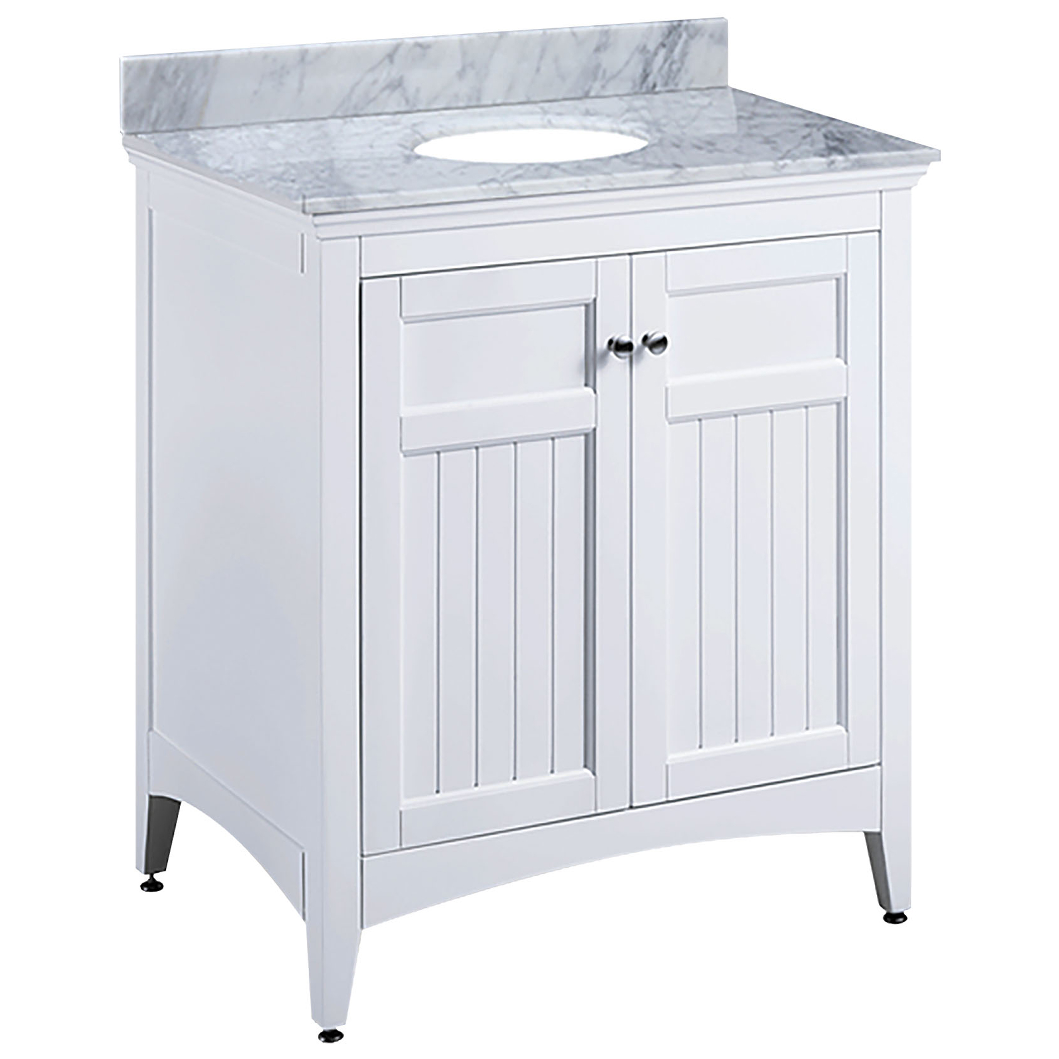 "30"" Transitional Bathroom Vanity - White Finish with Counter Top and Mirror Options"