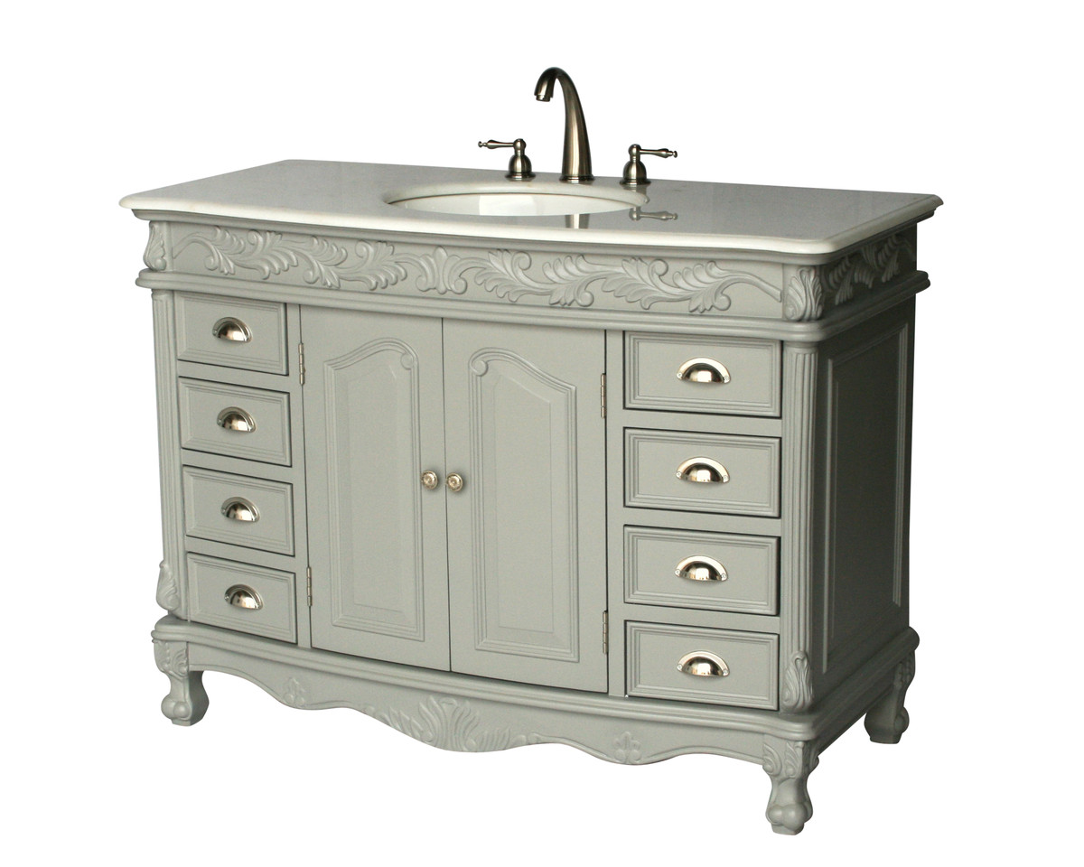 "48"" Adelina Antique Style Single Sink Bathroom Vanity in Gray Finish with Imperial White Stone Countertop"
