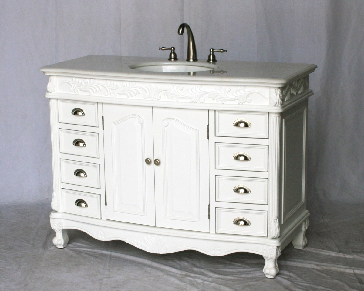 "48"" Adelina Antique Style Single Sink Bathroom Vanity in Pure White Finish with Imperial White Stone Countertop"