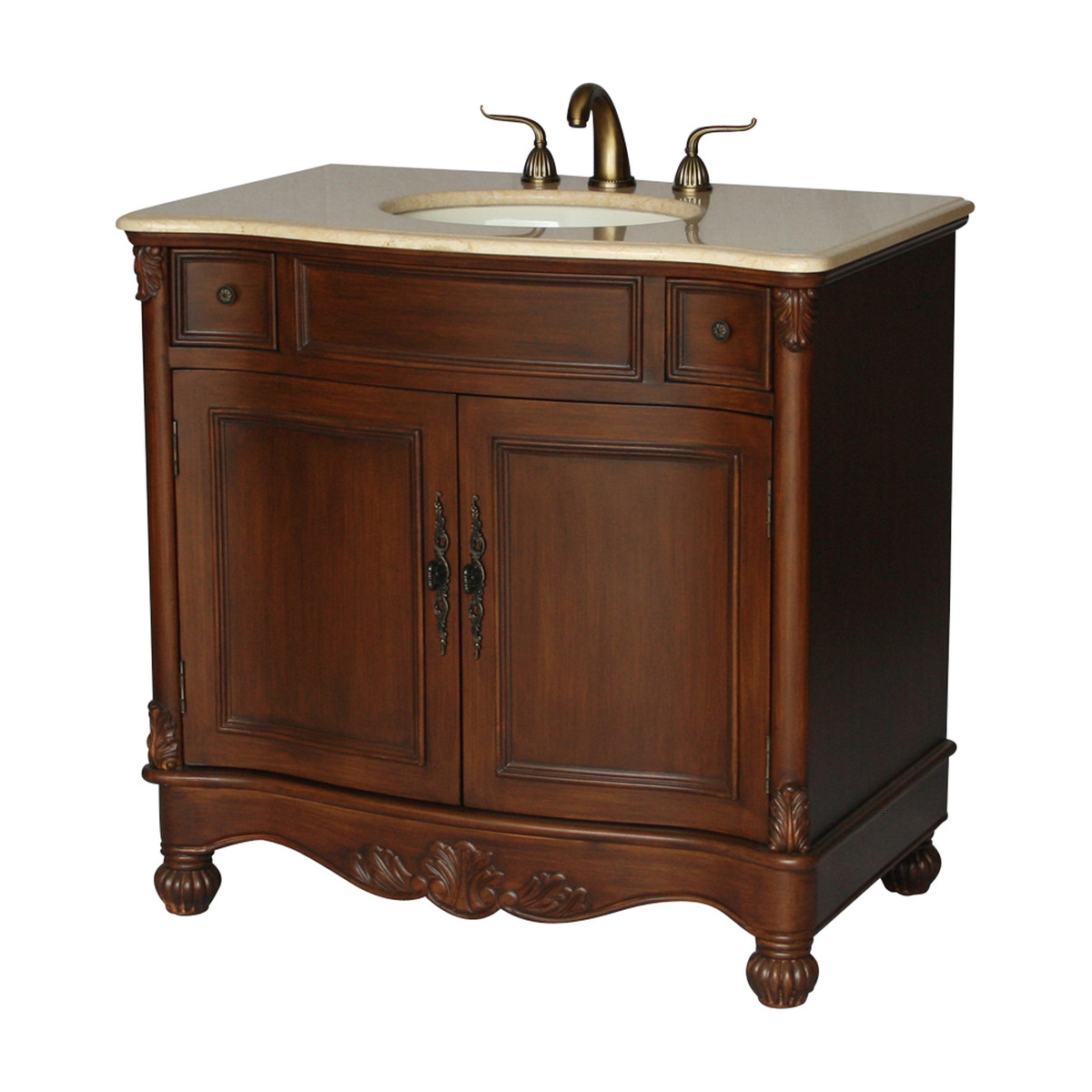 "36"" Adelina Antique Style Single Sink Bathroom Vanity with Beige Stone Countertop and Walnut Finish"