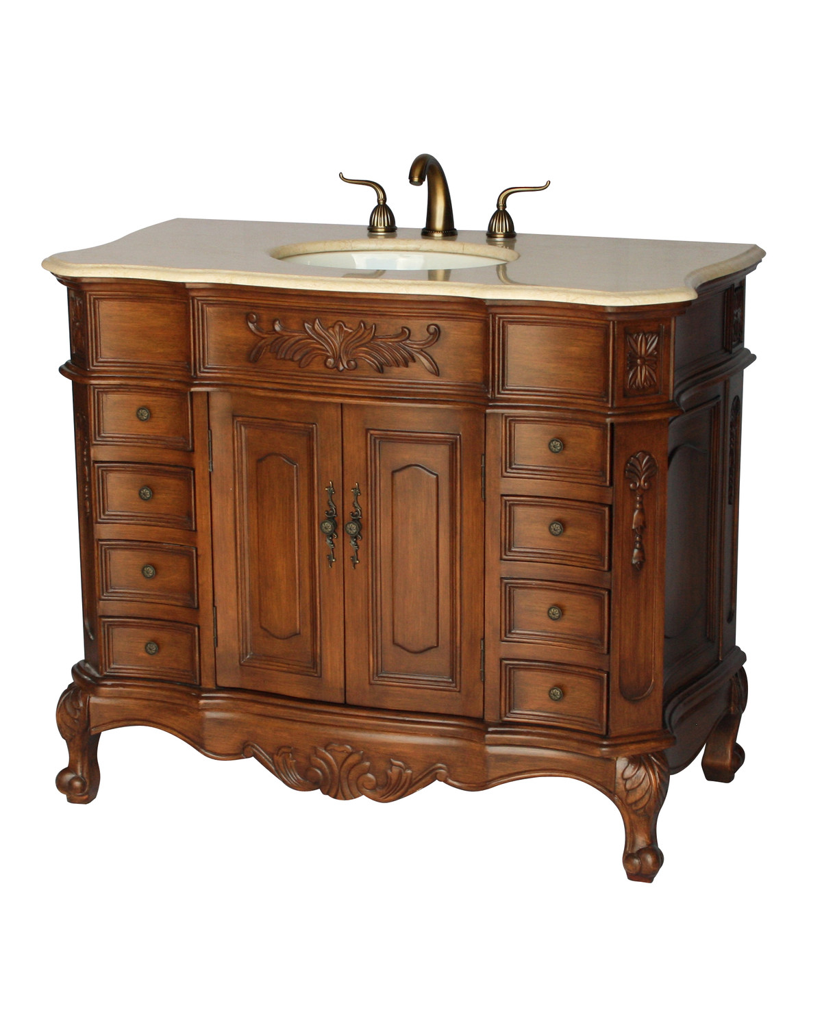 "42"" Adelina Antique Single Sink Bathroom Vanity Walnut Finish with Beige Stone Countertop"