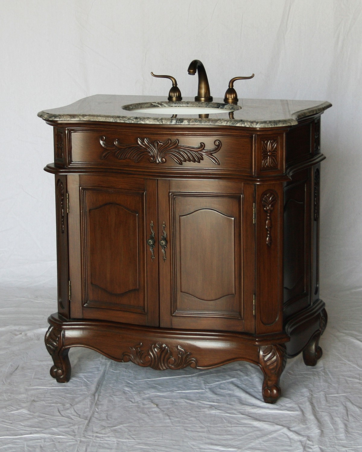 "34"" Adelina Antique Style Walnut Single Sink Bathroom Vanity with Gray Granite Countertop"