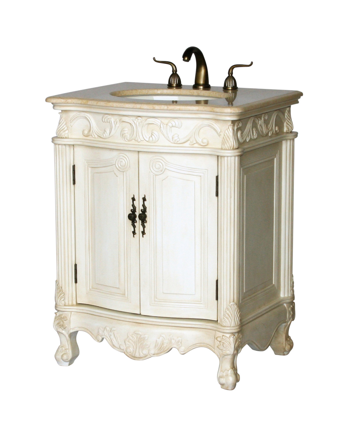 "27"" Adelina Antique Single Sink Bathroom Vanity in White Finish"