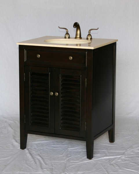 "26"" Adelina Cottage Style Single Sink Bathroom Vanity in Espresso Finish with Beige Stone Countertop"