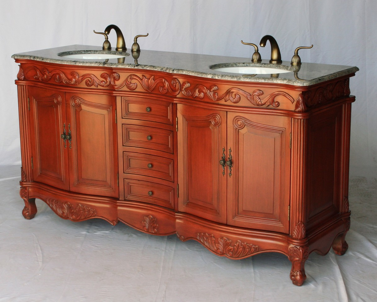 "60"" Adelina Antique Style Double Sink Bathroom Vanity in Cherry Finish with Gray Granite Countertop and Oval White Porcelain Sink"