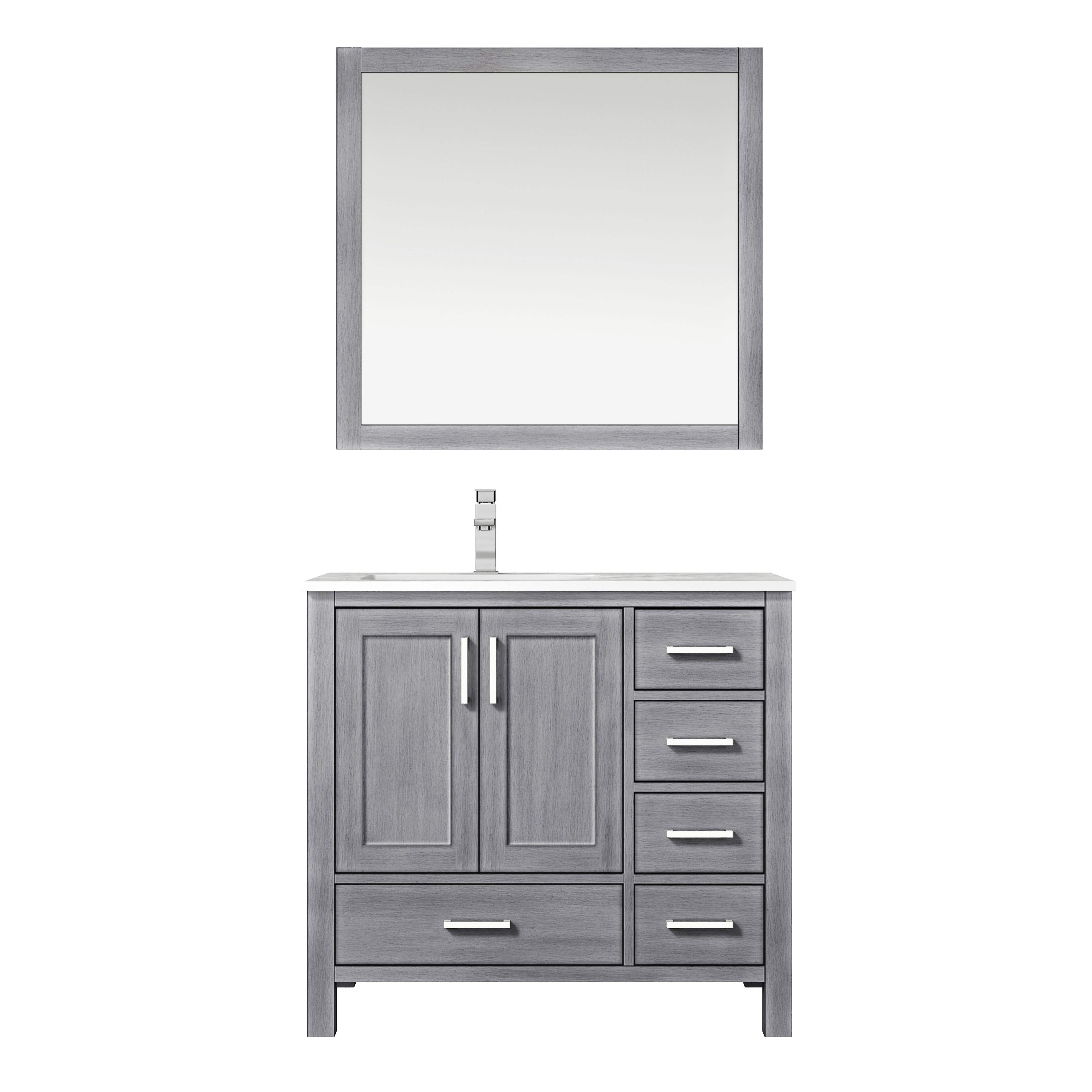 "36"" Distressed Grey Vanity Cabinet Only - Left Version with Countertop and Mirror Options"