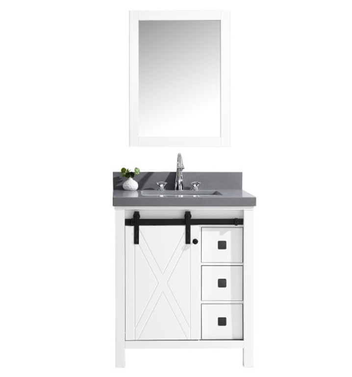 "30"" White Vanity Cabinet Only with Mirror and Top Options"