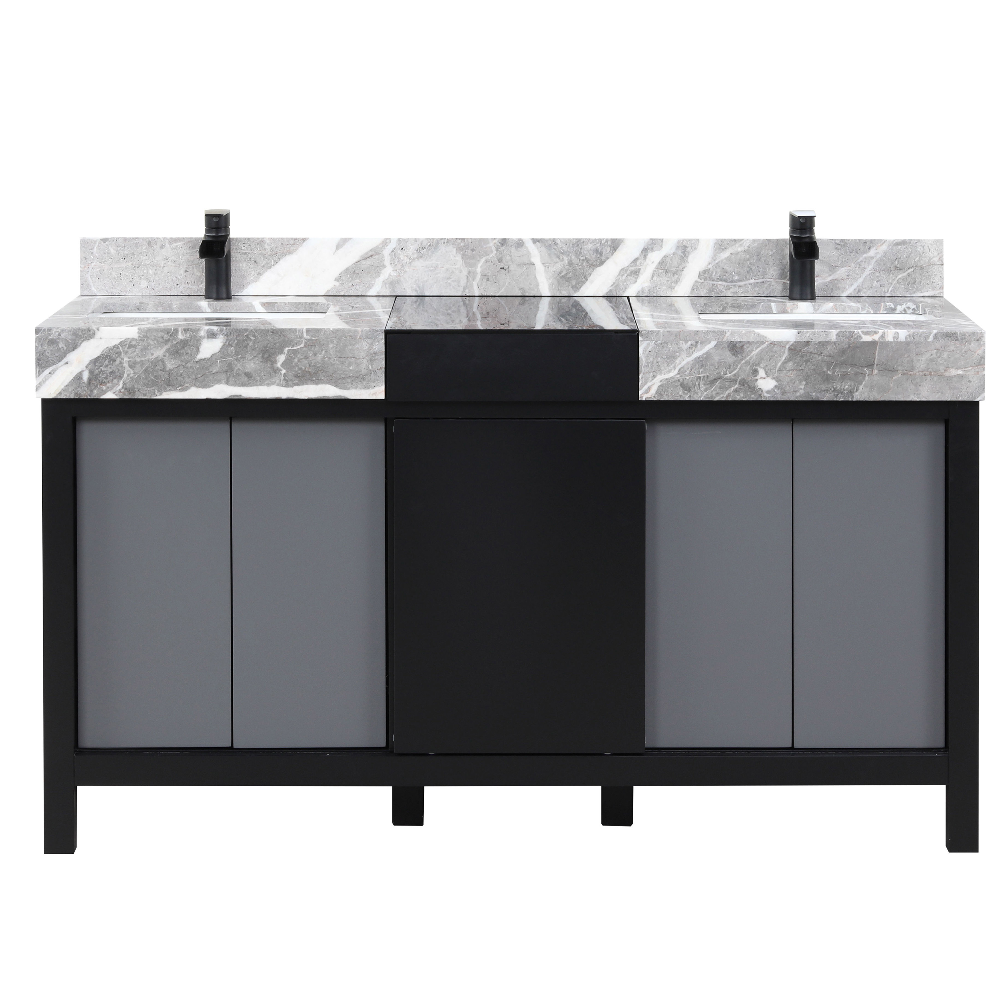 """60"""" Black and Grey Double Vanity, Castle Grey Marble Tops, and White Square Sinks"""