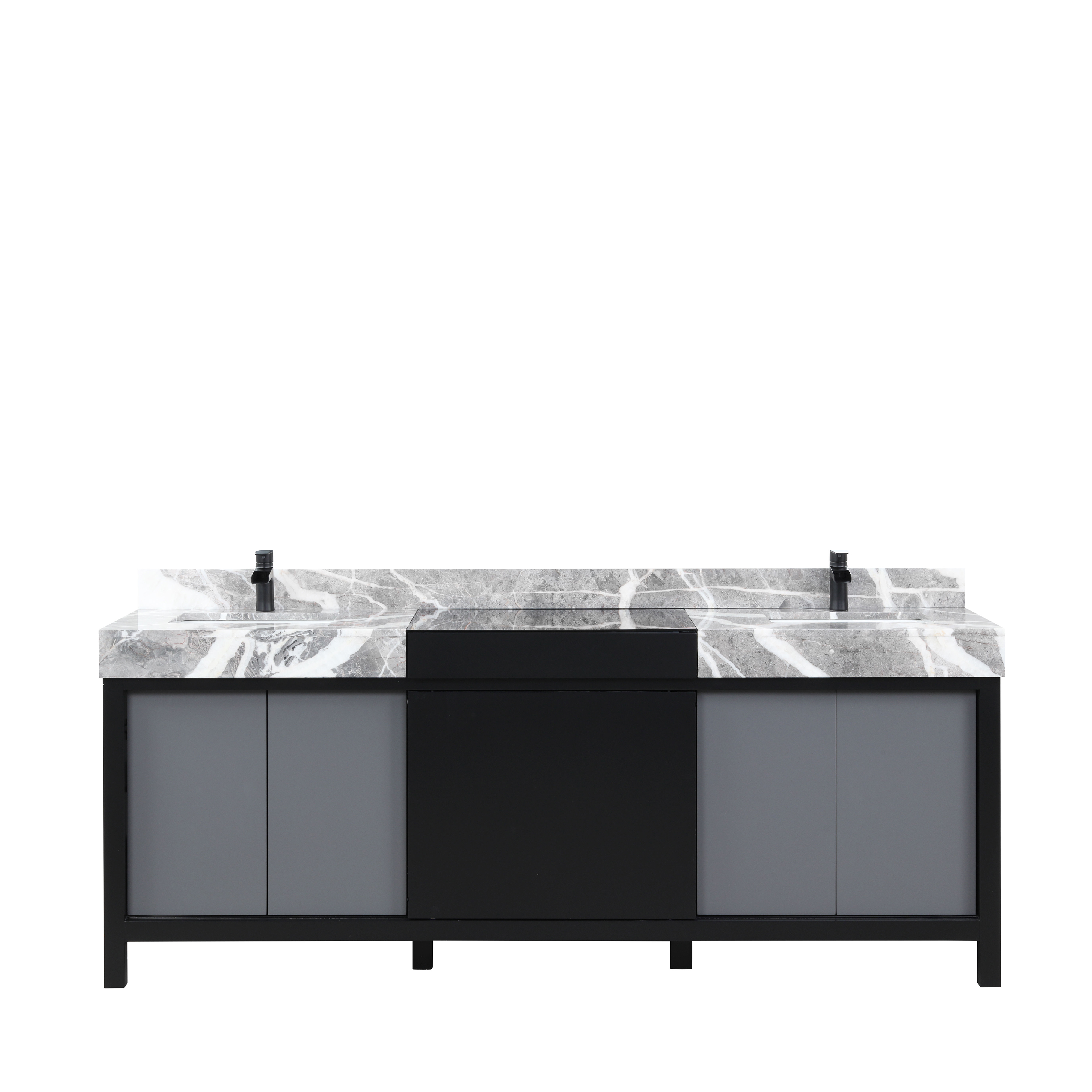 """84"""" Black and Grey Double Vanity, Castle Grey Marble Tops, and White Square Sinks"""
