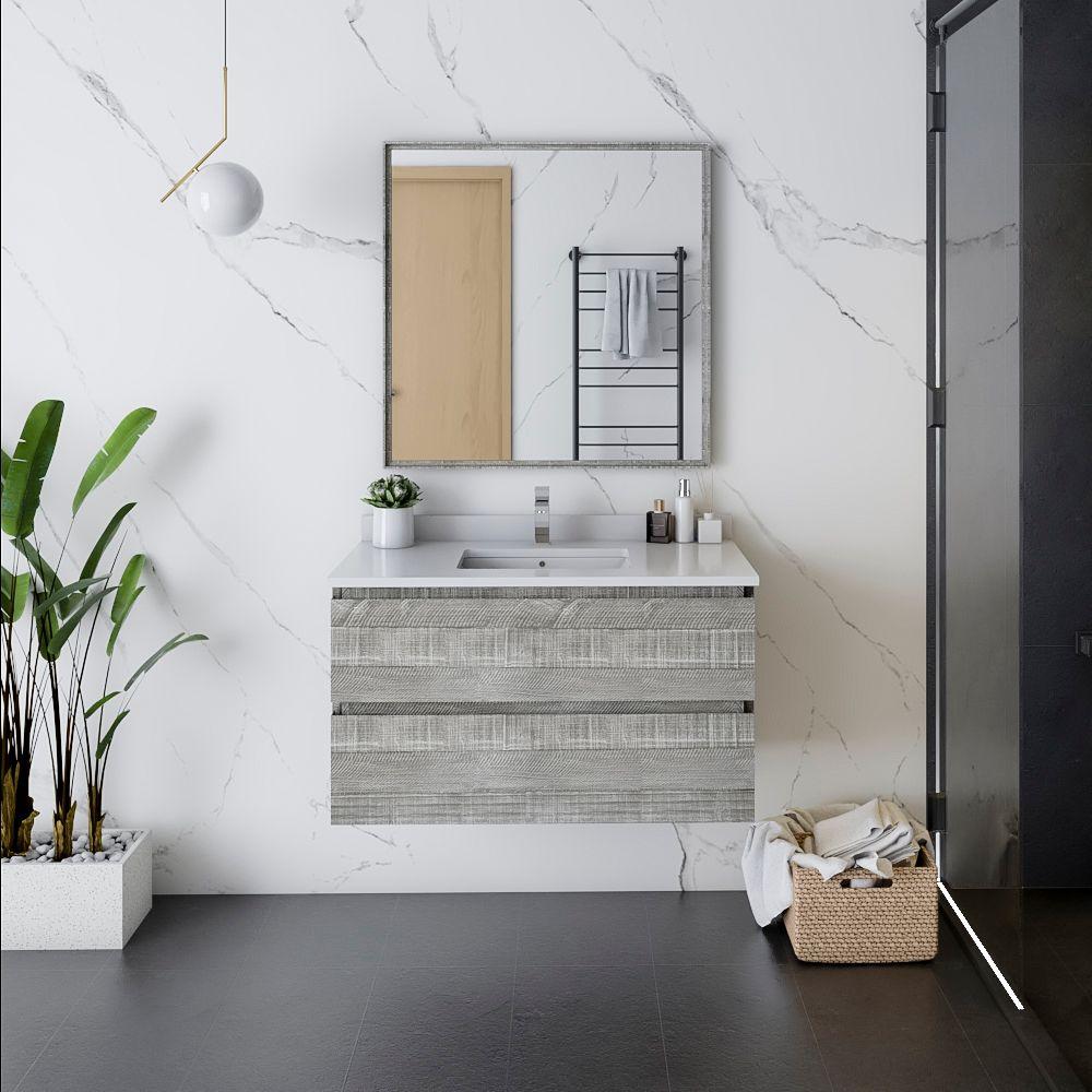 "36"" Wall Hung Modern Bathroom Vanity w/ Mirror in Ash"