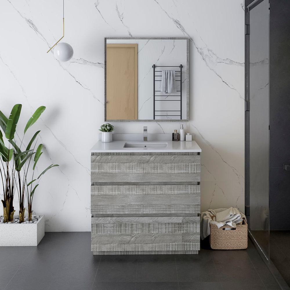 """36"""" Floor Standing Modern Bathroom Vanity w/ Mirror in Ash"""