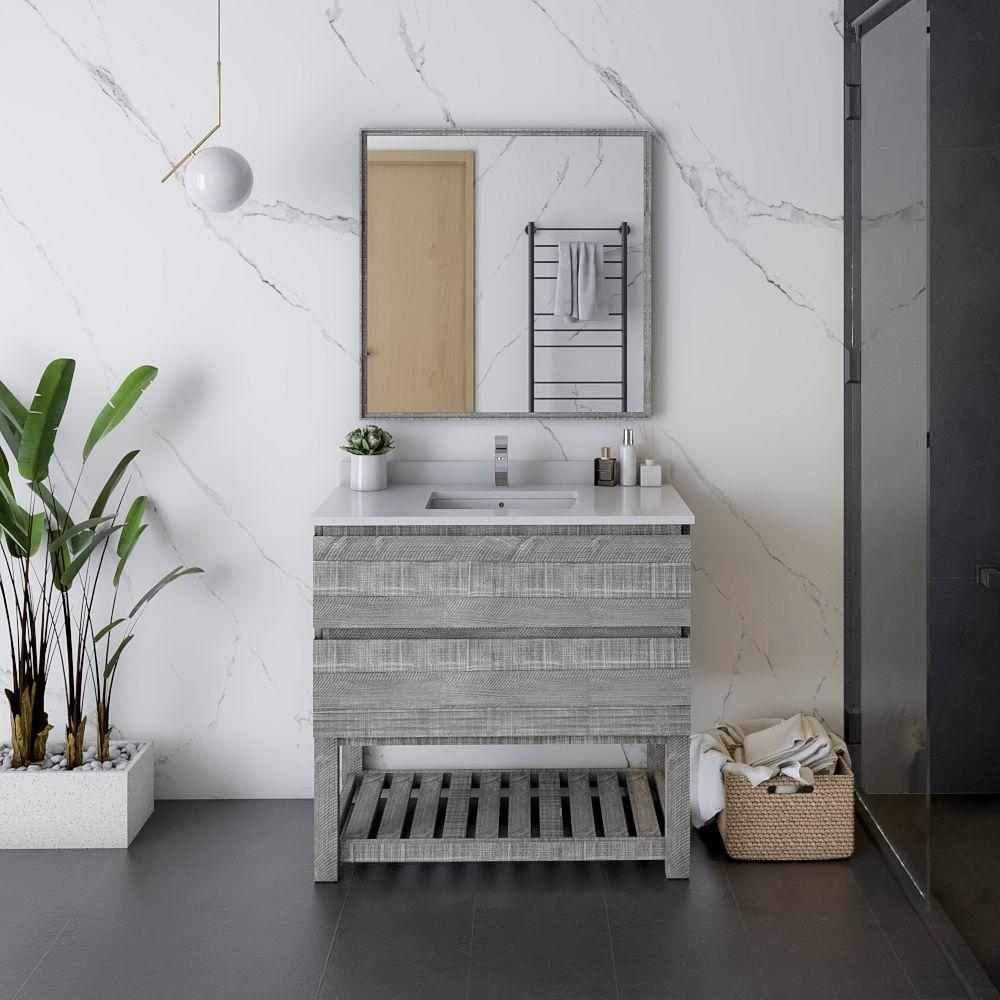 """36"""" Floor Standing Modern Bathroom Vanity w/ Open Bottom & Mirror in Ash"""