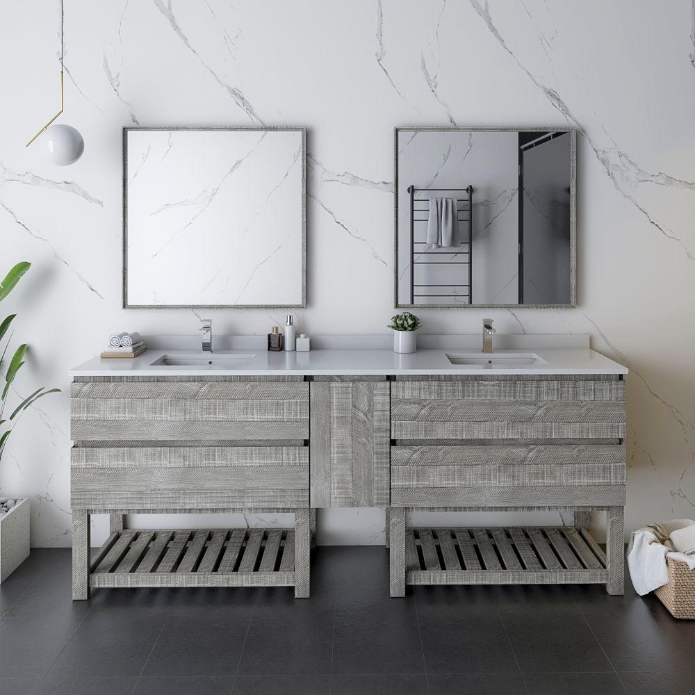 """84"""" Floor Standing Double Sink Modern Bathroom Vanity w/ Open Bottom & Mirrors in Ash"""