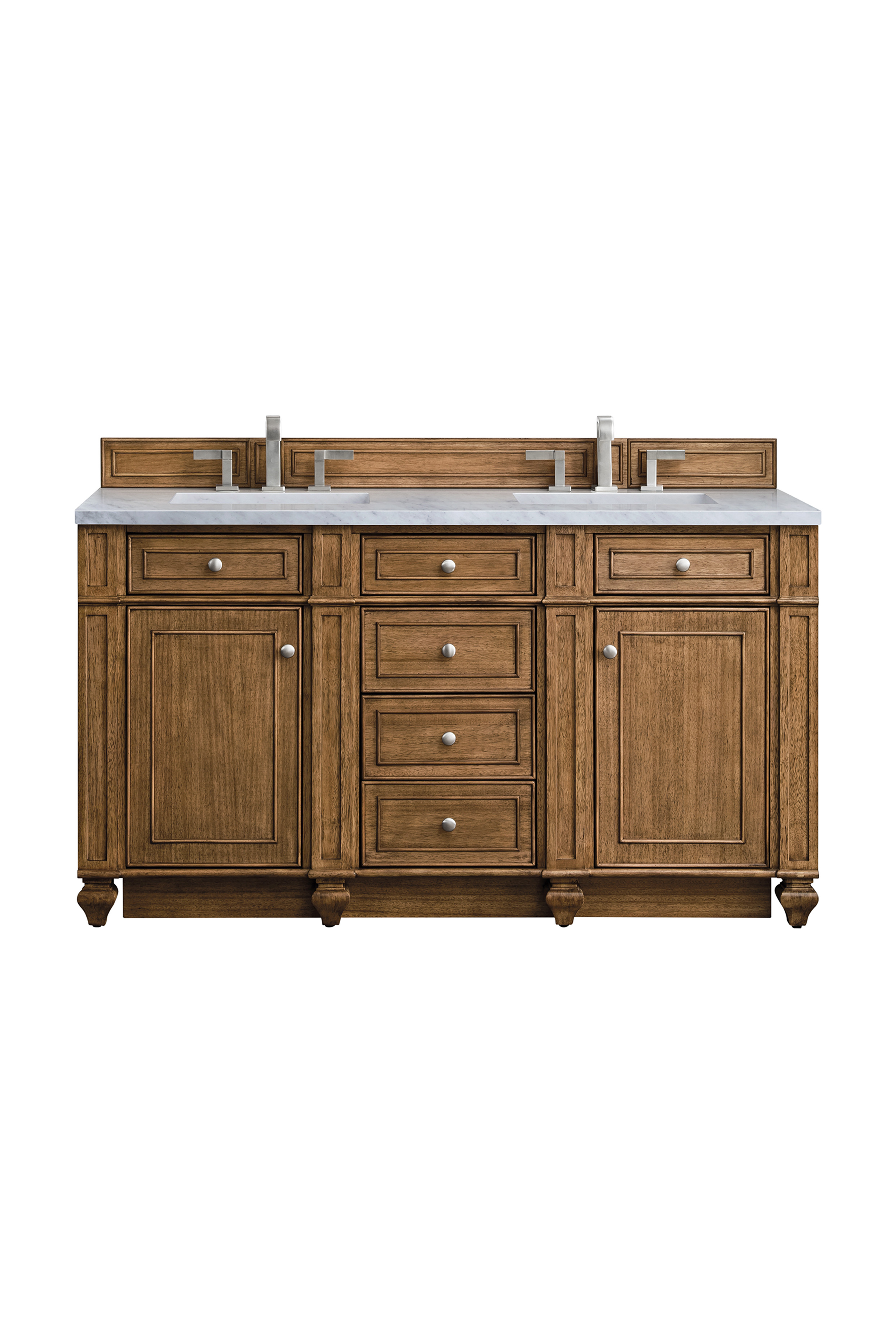 """James Martin Bristol Collection 60"""" Double Vanity, Saddle Brown"""