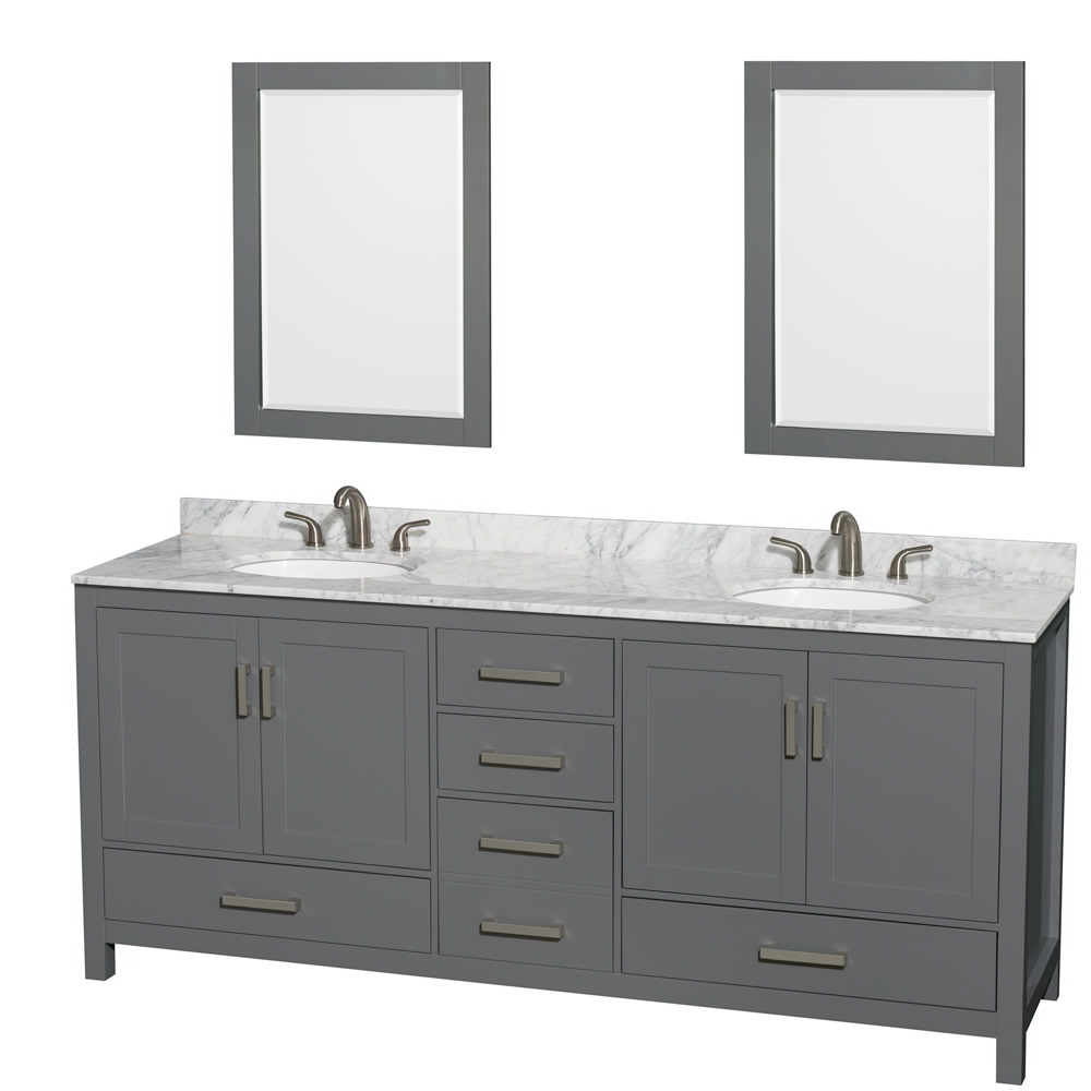 "80"" Double Bathroom Vanity in Dark Gray with Countertop, Sink, and Mirror Options"