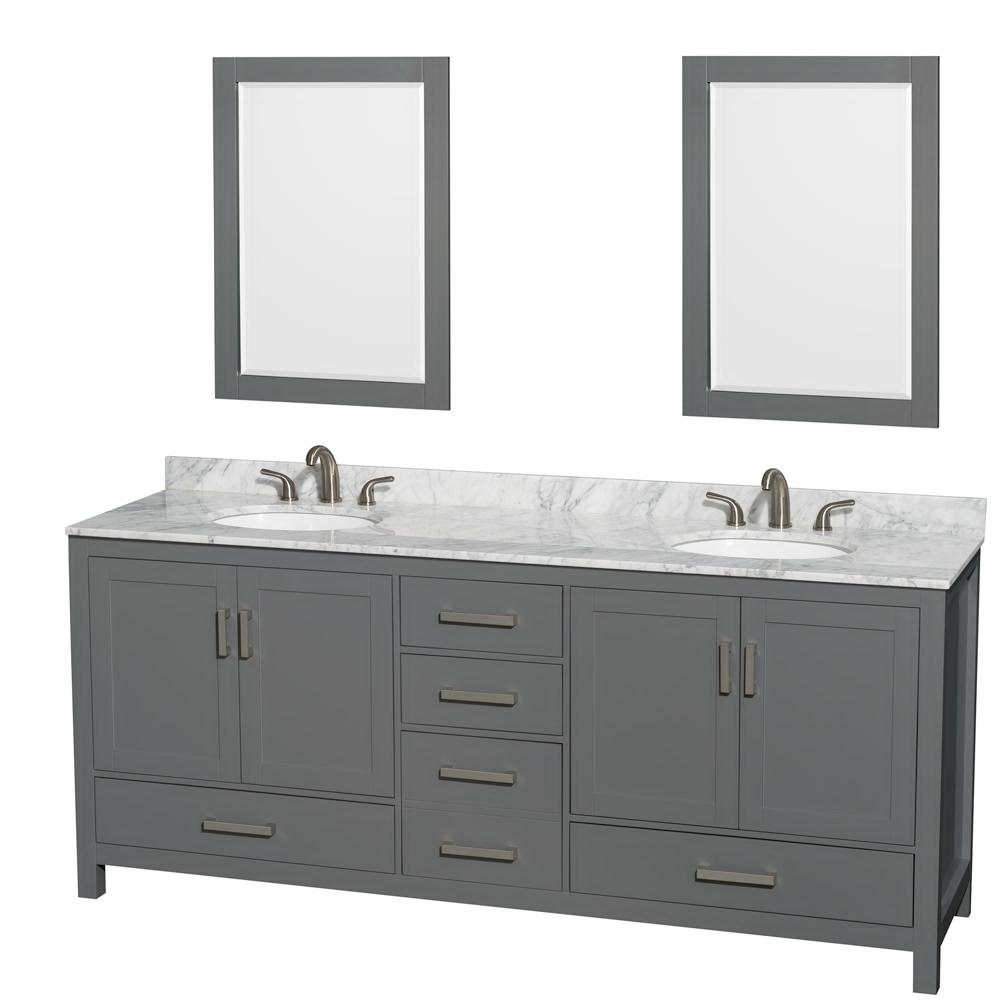 "80"" Double Bathroom Vanity in Dark Gray with Countertop, Sink, and Mirror Options"