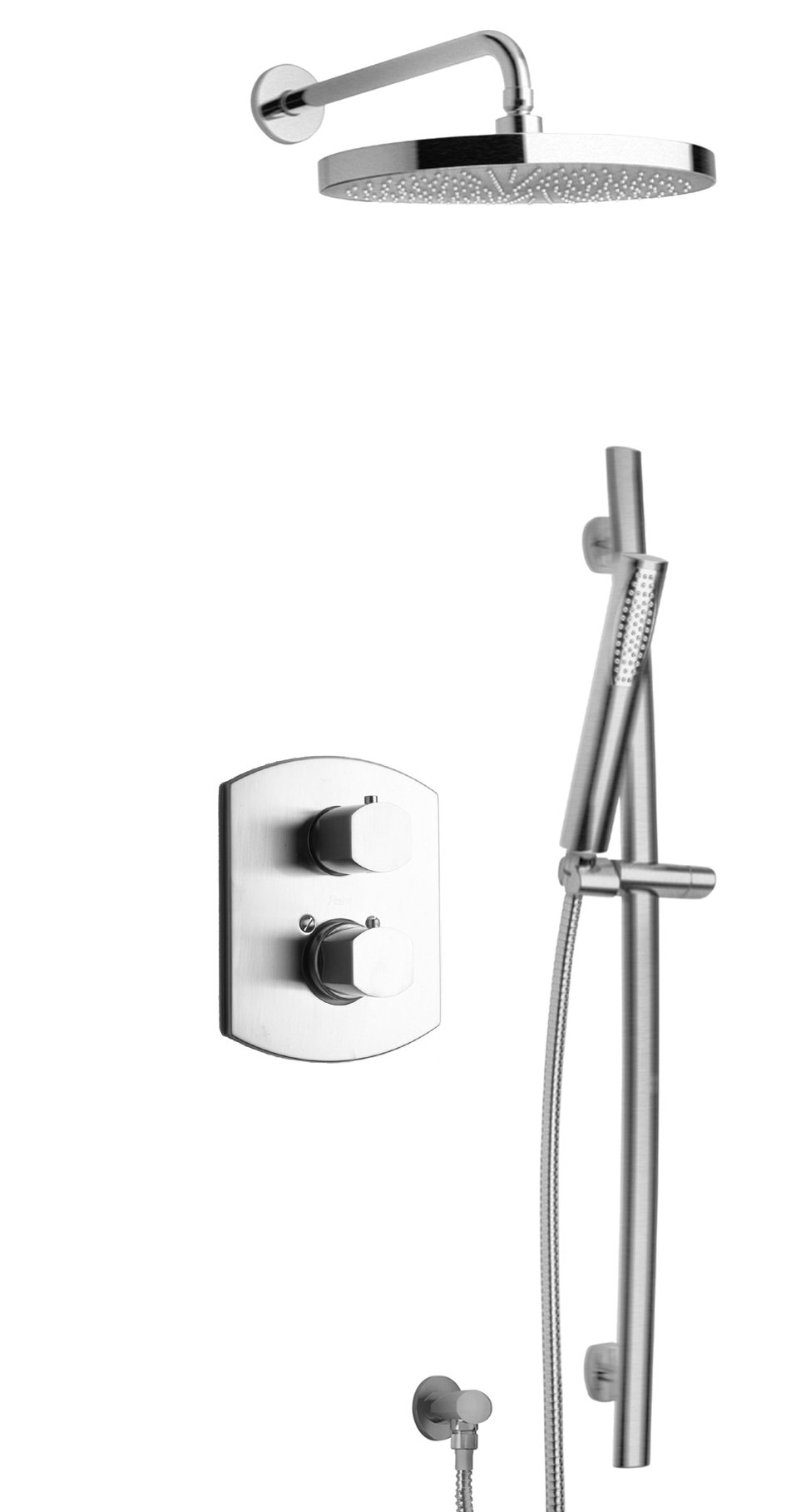 Thermostatic Shower With 2-Way Diverter Volume Control and Slide Bar in Chrome Finish