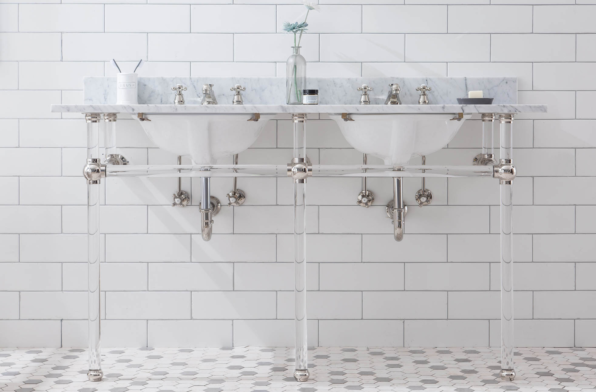 "60"" Wide Double Wash Stand Only with Polished Nickel (PVD) Finish"