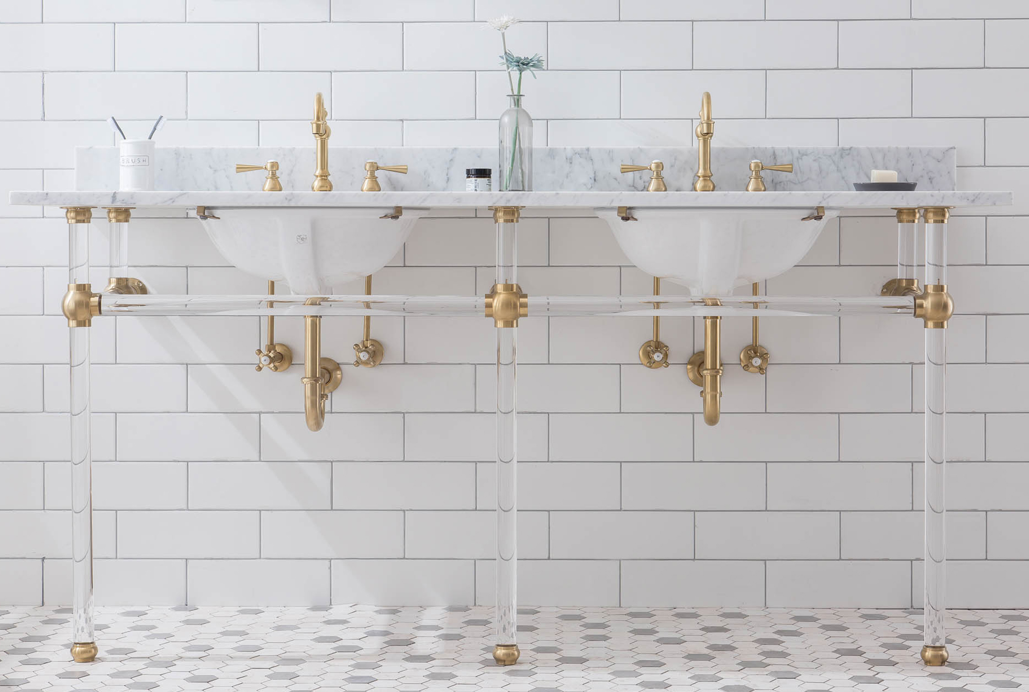 "72"" Wide Double Wash Stand Only with Satin Gold Finish"