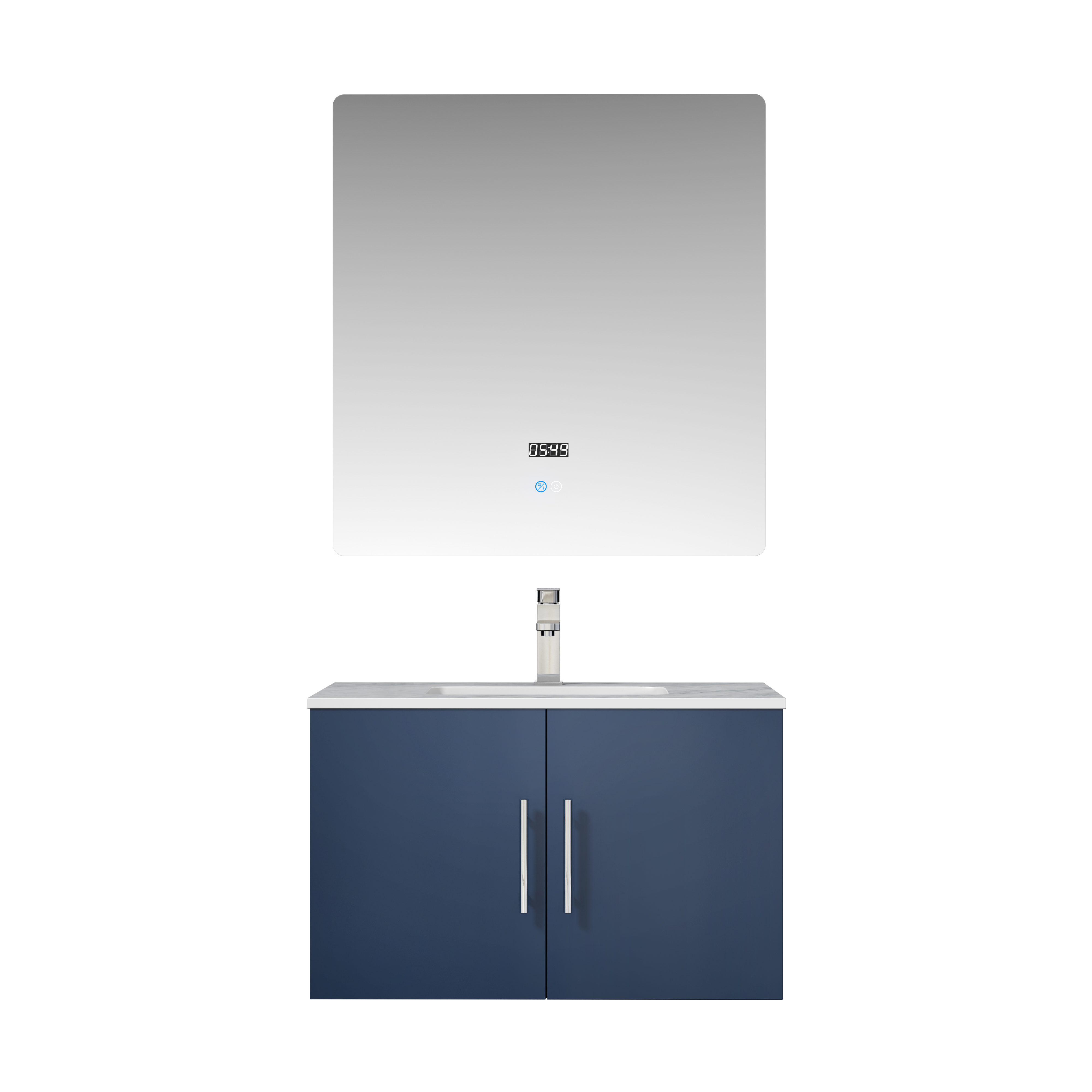 "30"" Navy Blue Vanity Cabinet Only with Countertop and Mirror Options"