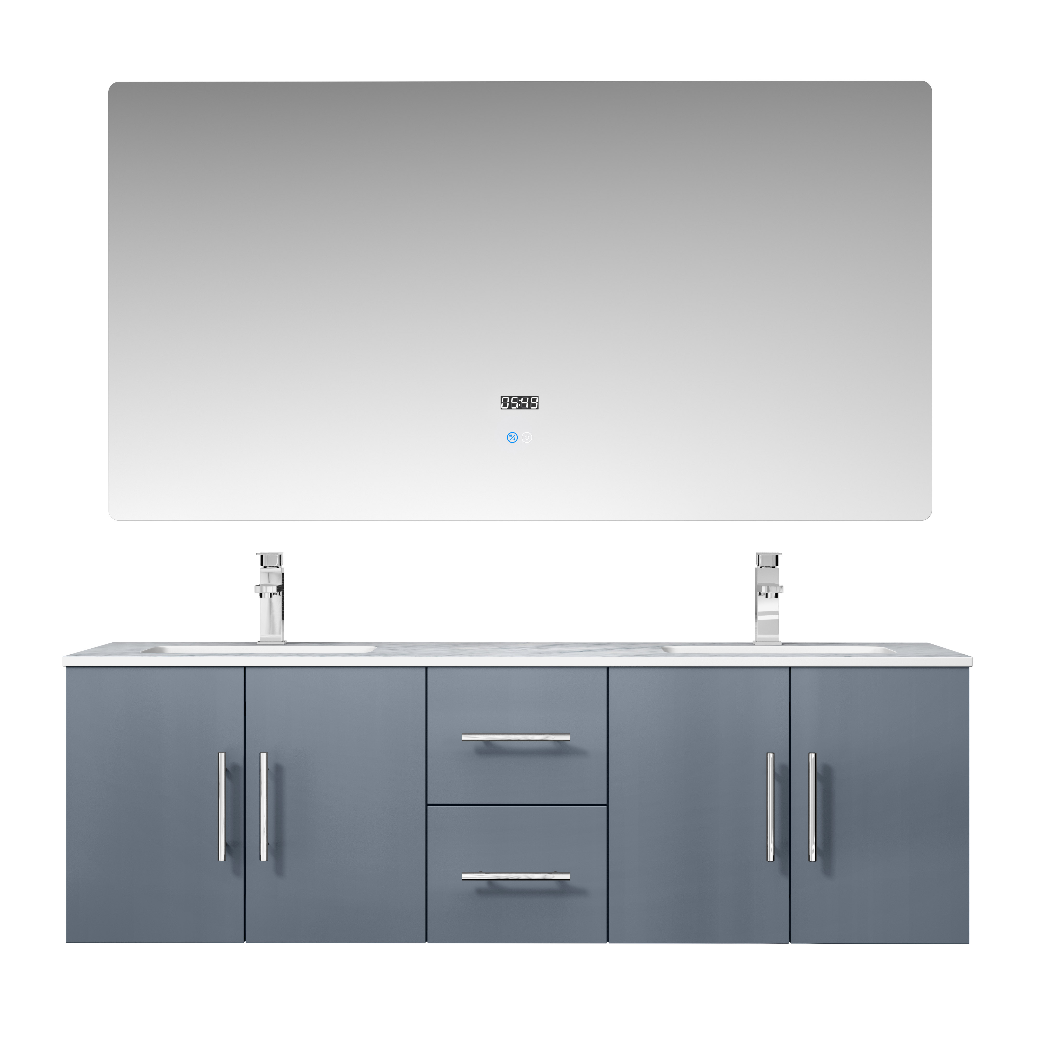 "60"" Dark Grey Vanity Cabinet Only with Countertop and Mirror Options"