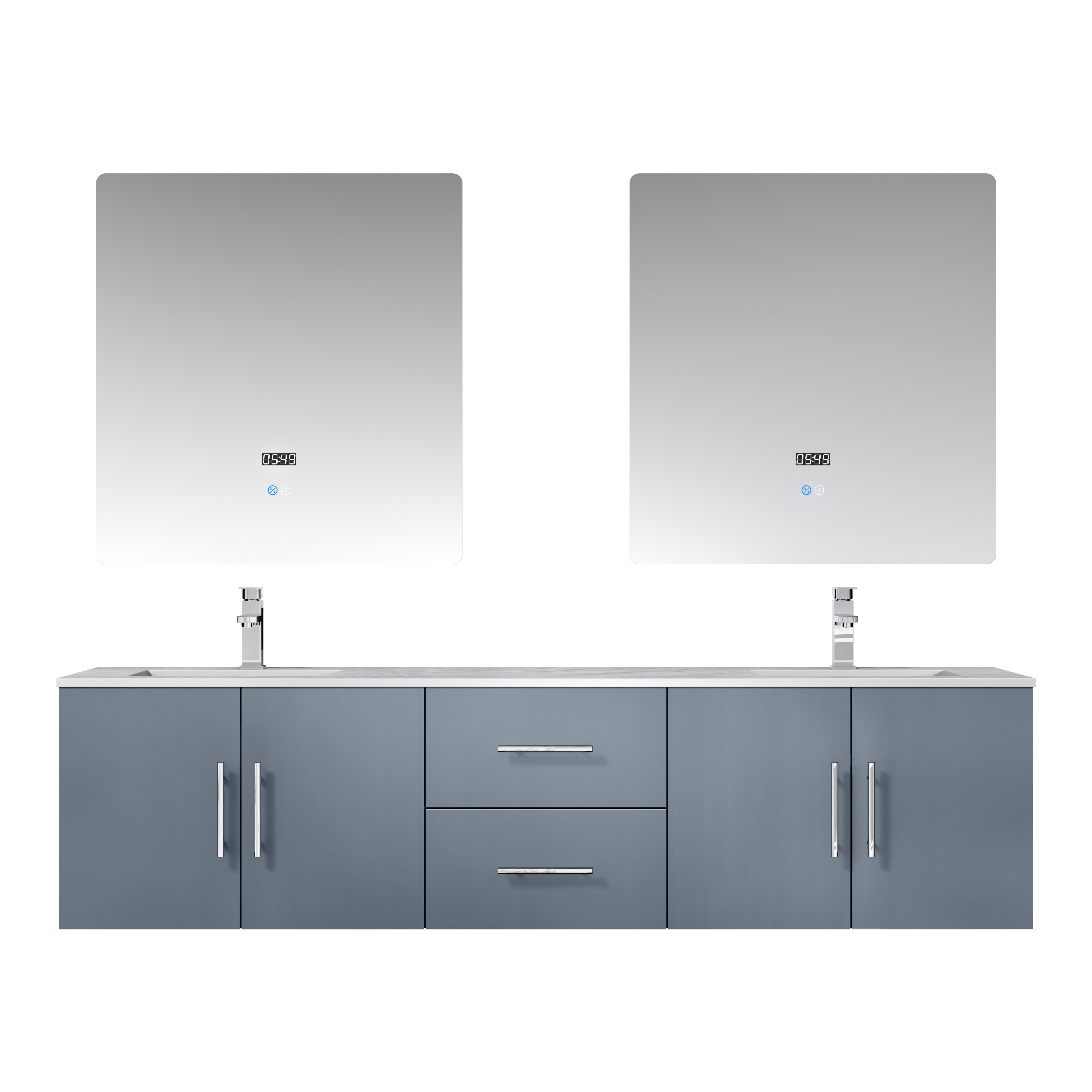"72"" Dark Grey Vanity Cabinet Only with Countertop and Mirror Options"