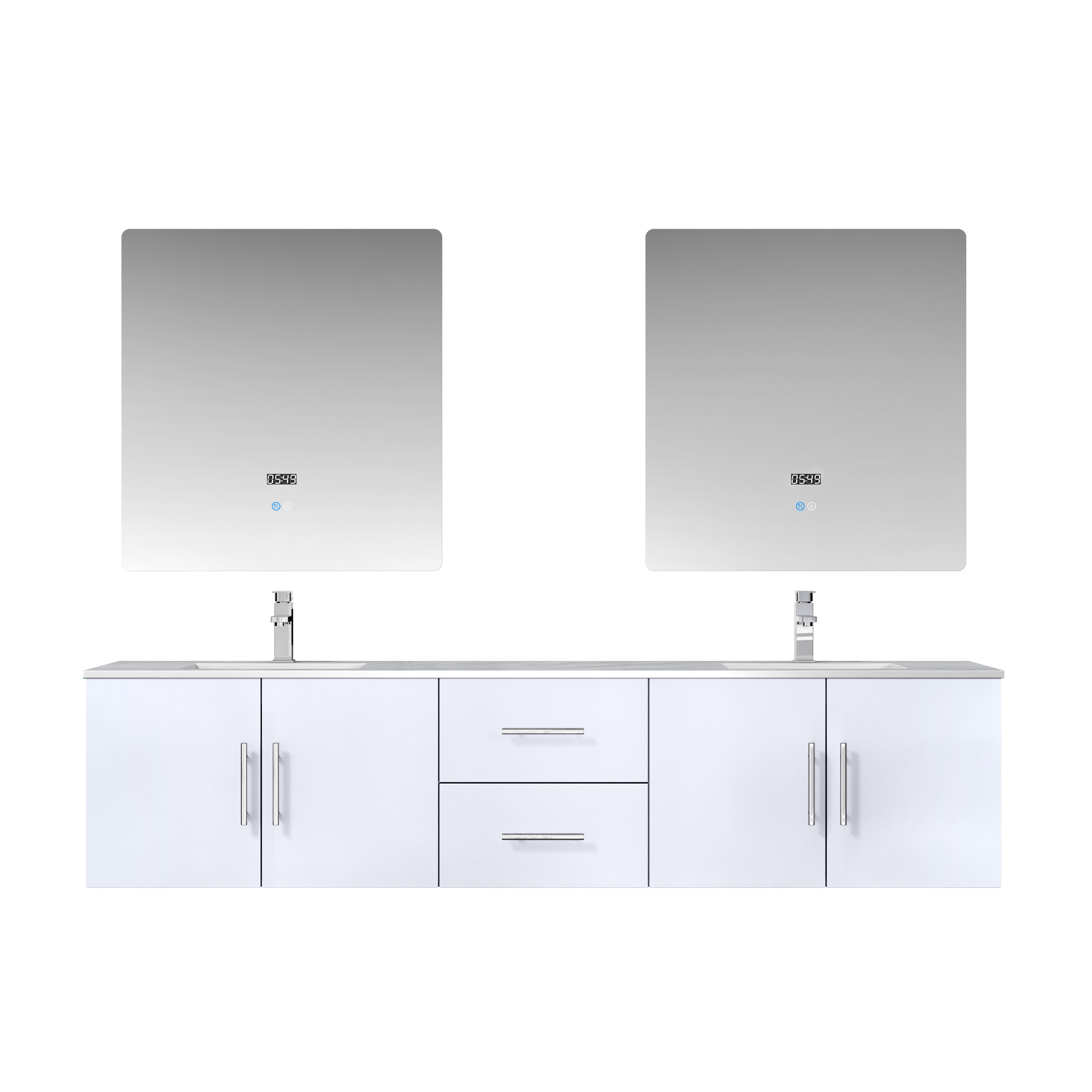 "80"" Glossy White Vanity Cabinet Only with Countertop and Mirror Options"
