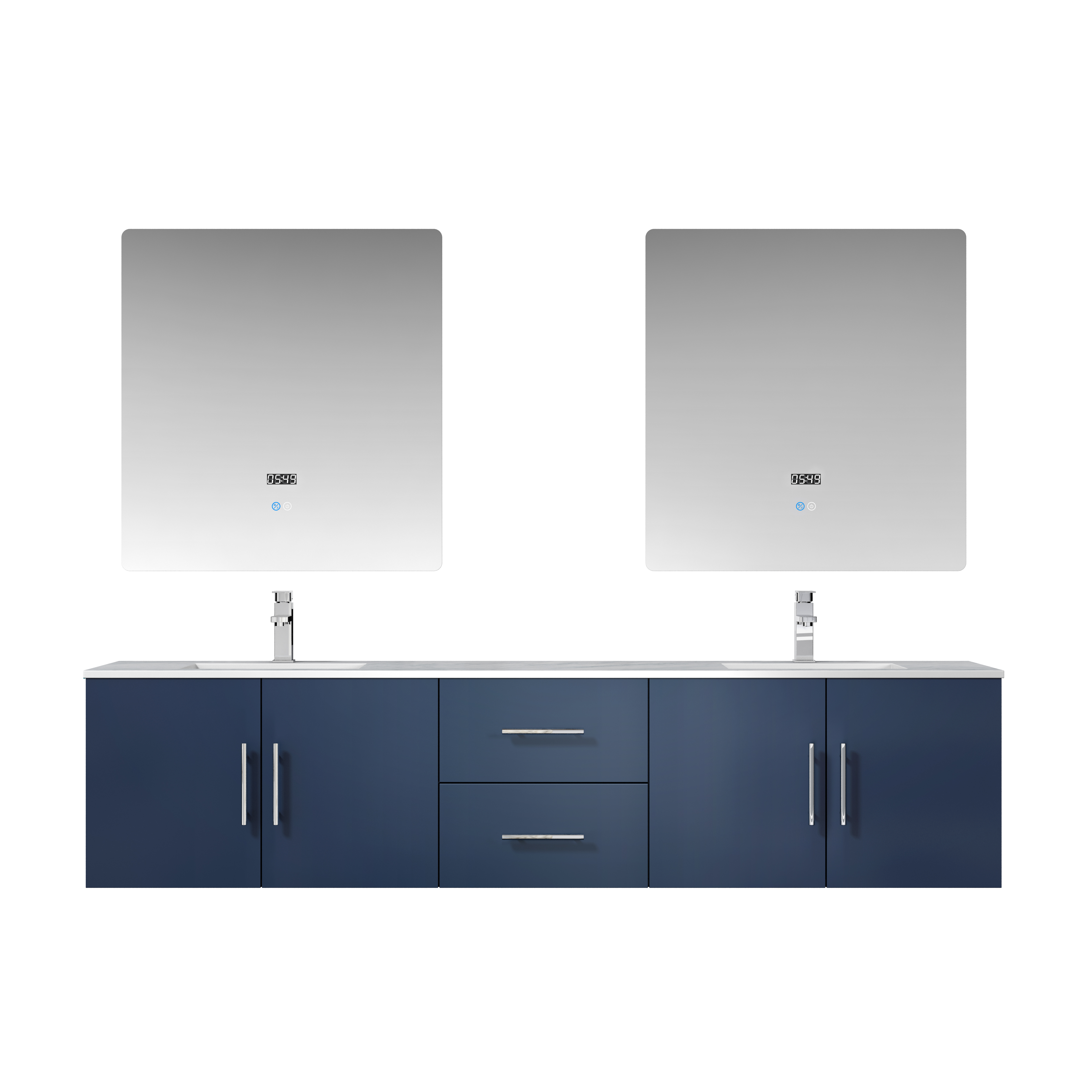 "80"" Navy Blue Vanity Cabinet Only with Countertop and Mirror Options"