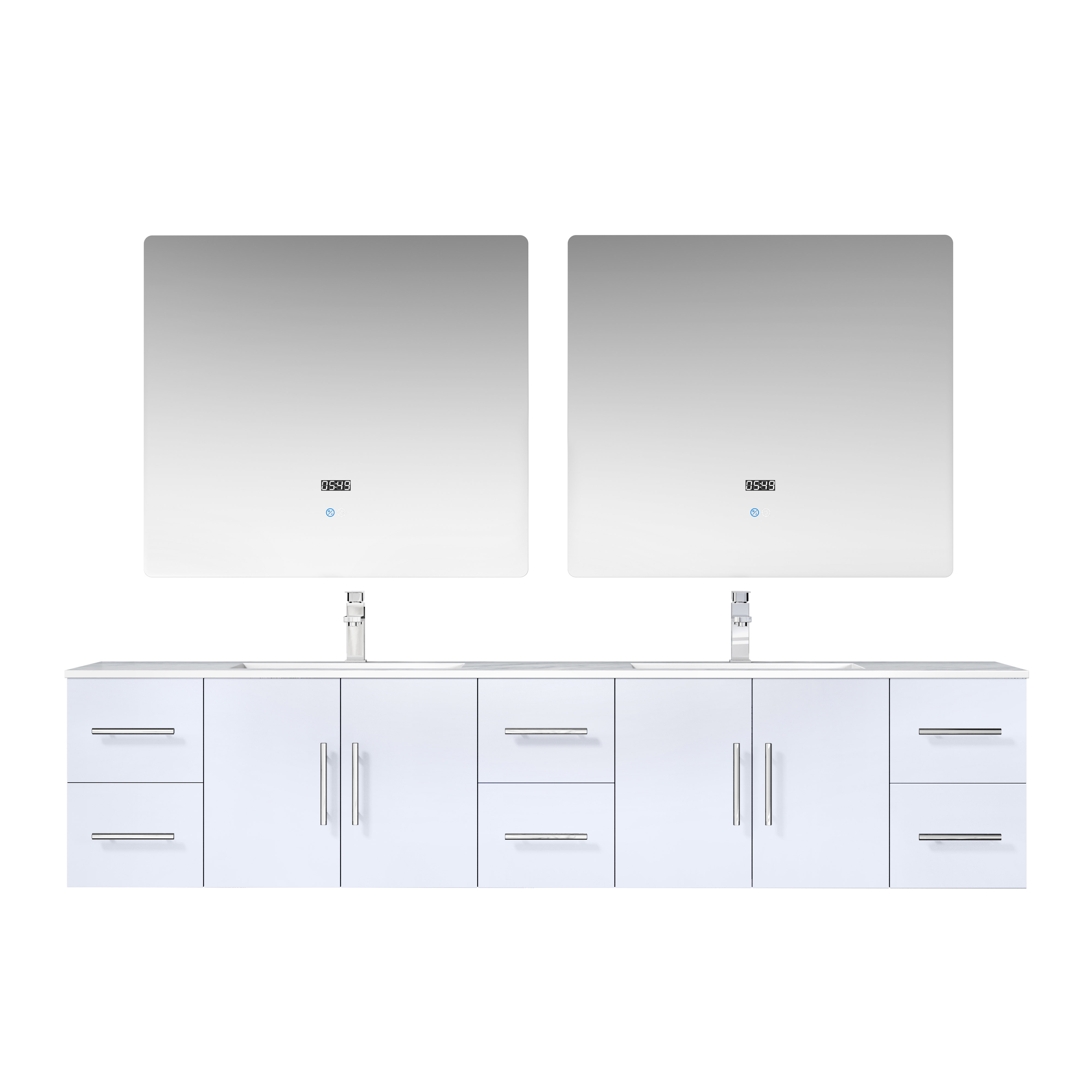 "84"" Glossy White Vanity Cabinet Only with Countertop and Mirror Options"