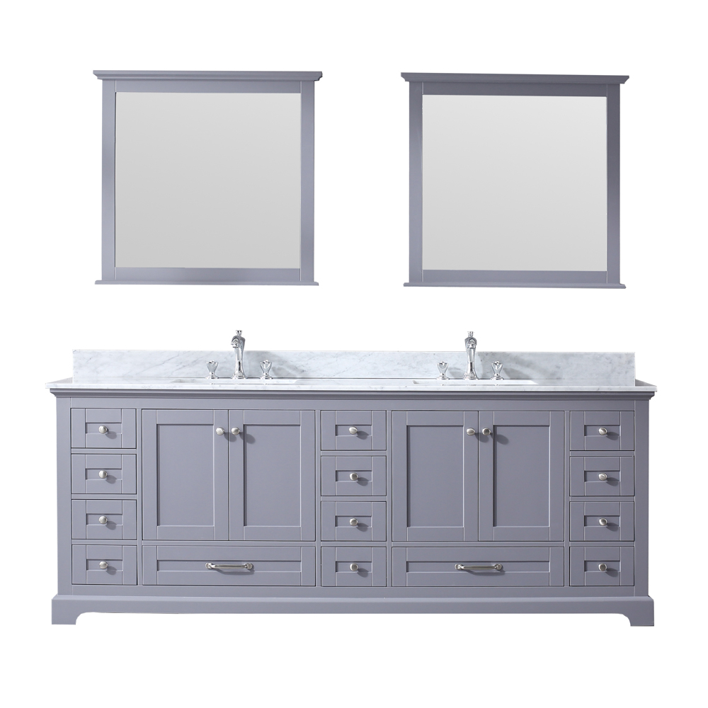 "84"" Dark Grey Vanity Cabinet Only with Top and Mirror Options"