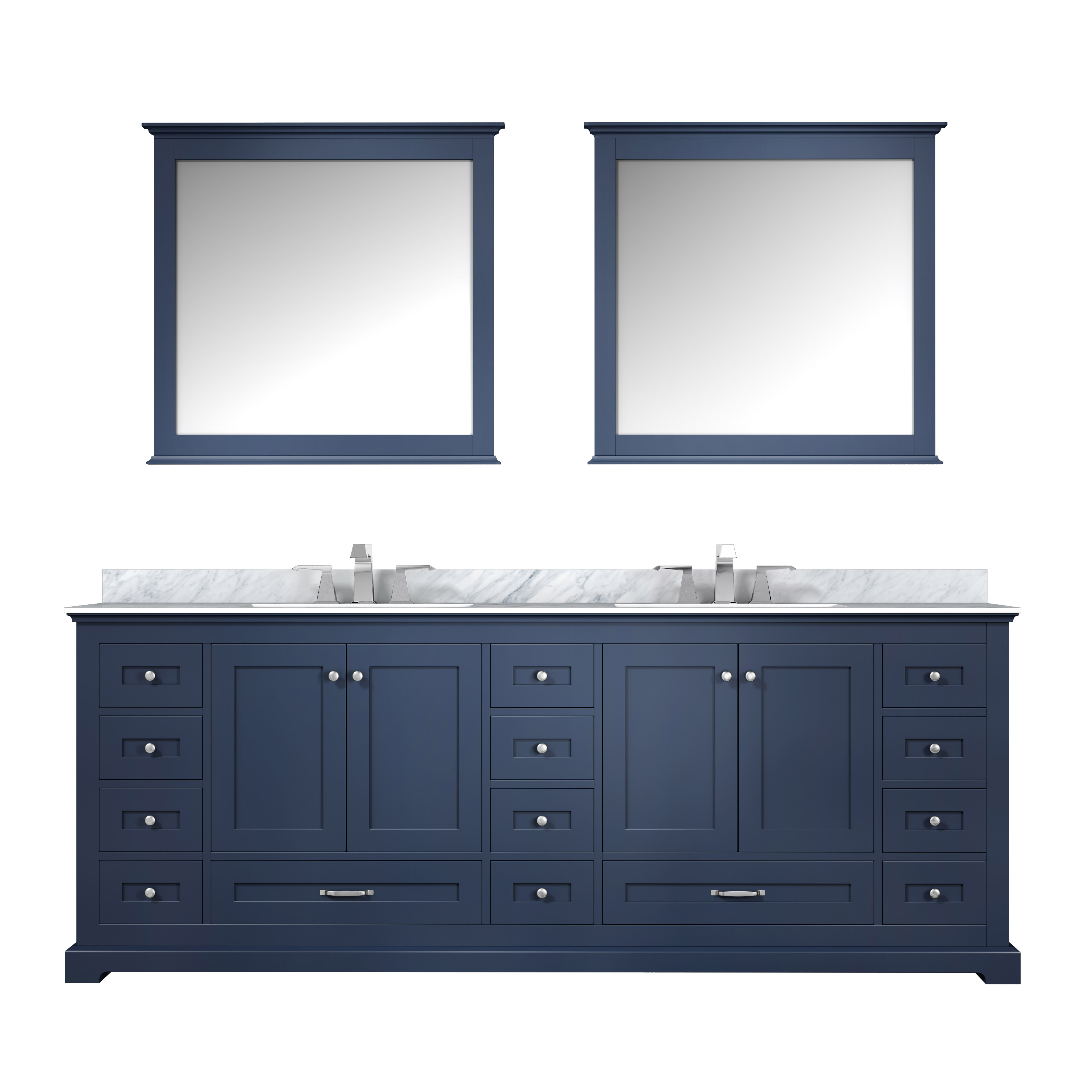 "84"" Navy Blue Vanity Cabinet Only with Top and Mirror Options"