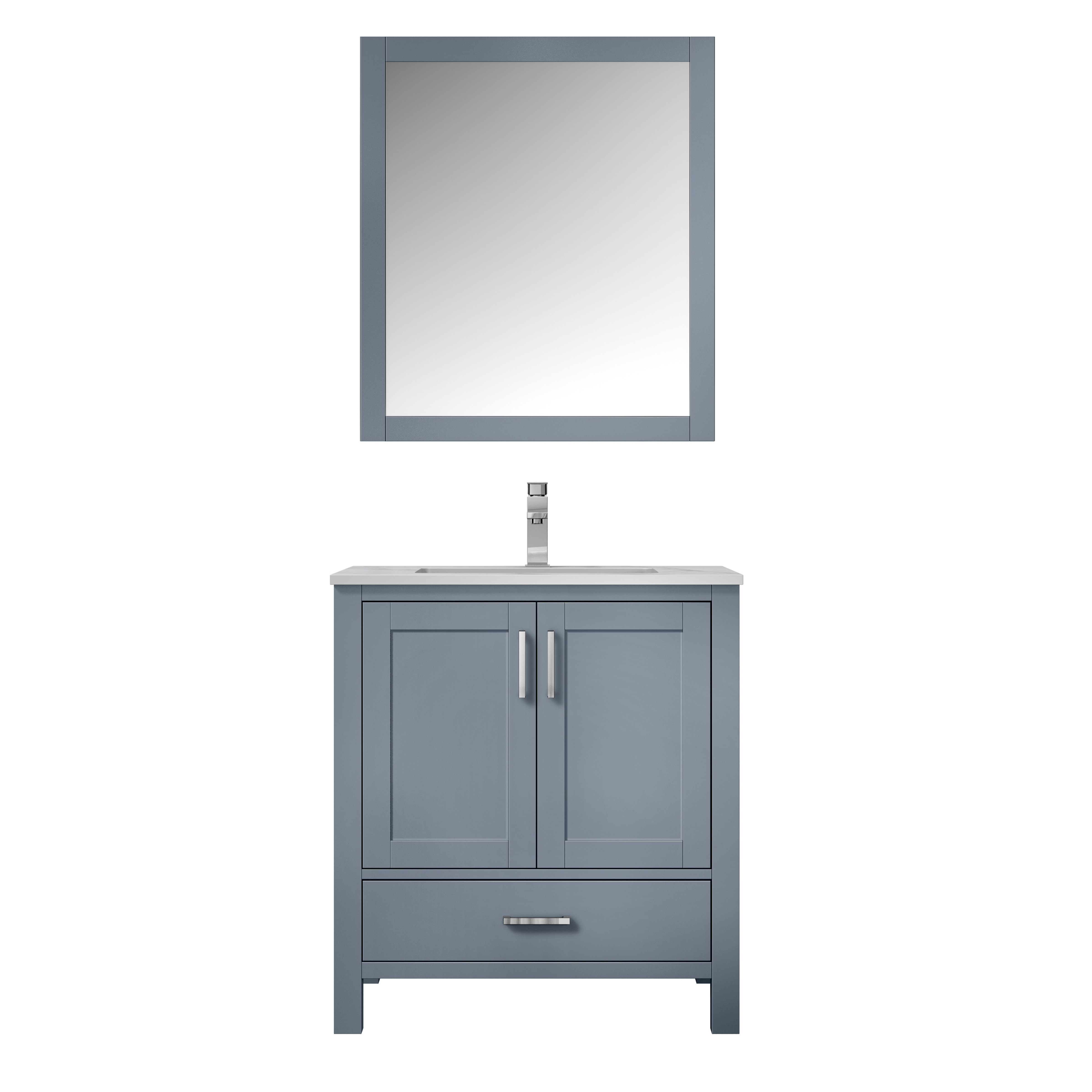 "30"" Dark Grey Vanity Cabinet Only with Mirror and Top Options"