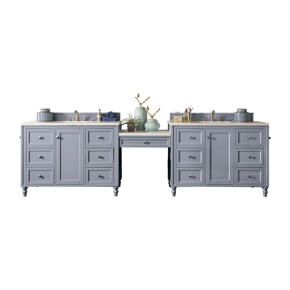 "James Martin Copper Cove Encore Collection 122"" Double Vanity Set, Silver Gray with Makeup Table"
